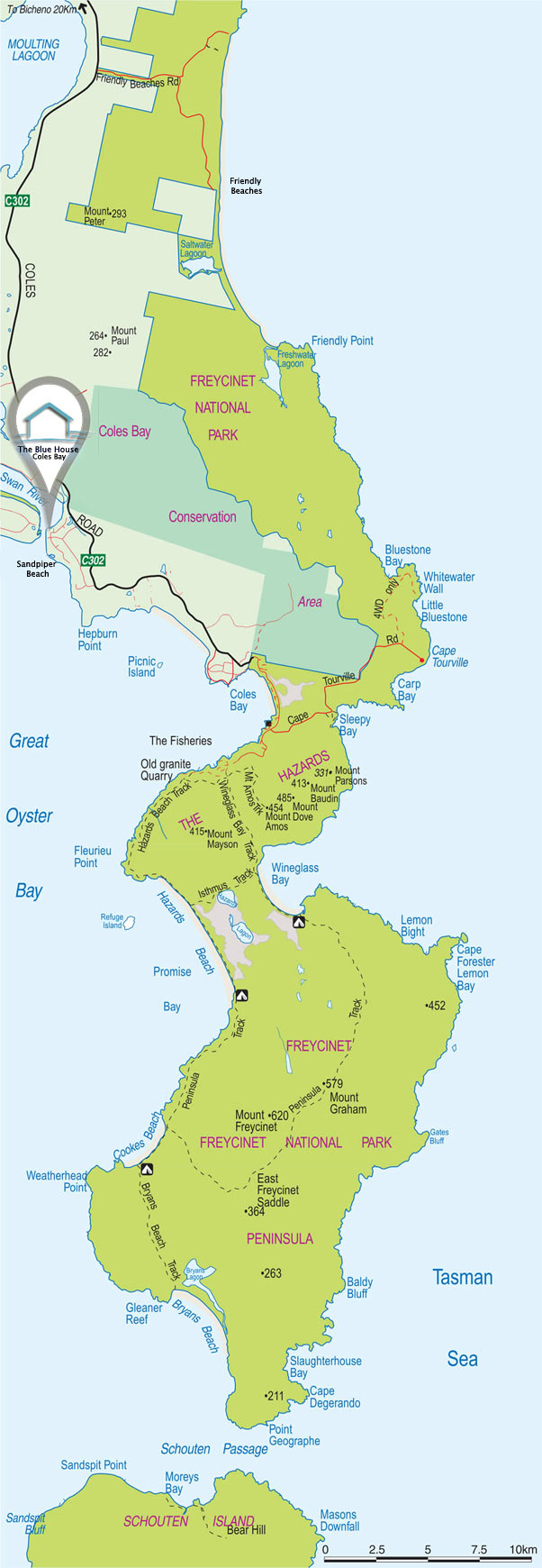 Full map of the Freycinet National Park